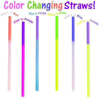 Color Changing Straws (Fun Color Changing Party Straws!  Reusable, Recyclable Smoothie Plastic)