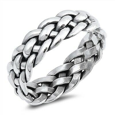 Celtic Band Knot French Friendship Braid .925 Sterling Silver Ring Size 7-13 ()