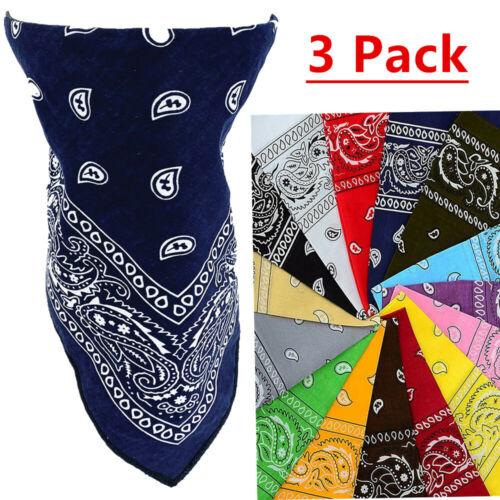 3 PCS Lot Paisley Bandana Face Mask Head Wrap Scarf 100% Cotton Mouth Cover