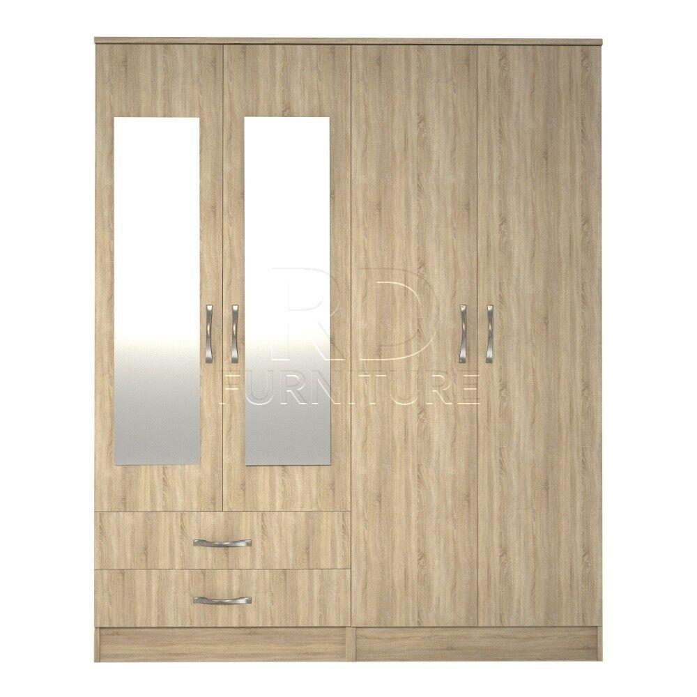 Classic 4 door 2 drawer mirrored wardrobe oak