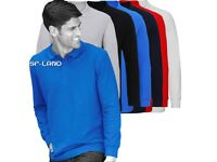 Men Polo Shirt 100% Cotton Long Sleeve Collared Top