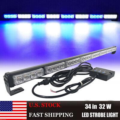 34 32 Led Emergency Flash Strobe Light Bar Vehicles Traffic Advisor Bluewhite