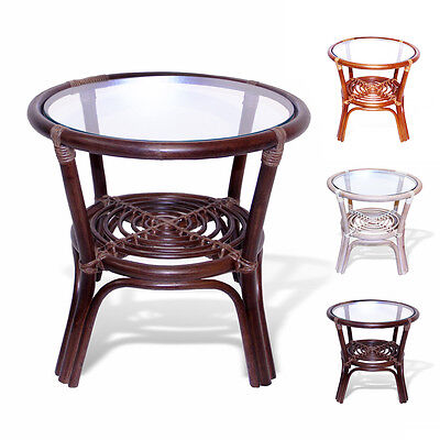Leo Rattan Wicker Round End Coffee Table with Glass Top 3 Colors Glass Rattan End Table