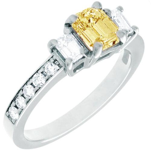 Diamond Engagement Ring GIA Certified Fancy Yellow Emerald Cut 18k Gold 2.31 CT 1