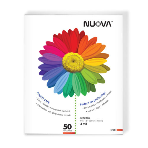 Nuova LP50H Thermal Laminating Pouches 9 x 11.5 Inches, Letter Size, 3 mil,50-Pa