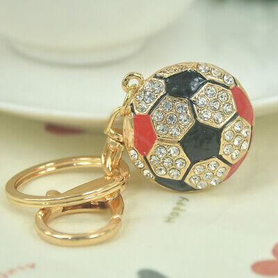 Half Football Ball Keychain Sports Crystal Rhinestone Keyring Charm Pendant Gift