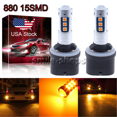 880 899 3030 Chip 15SMD LED Fog Light Bulbs Conversion Kit 3000K Yellow Amber