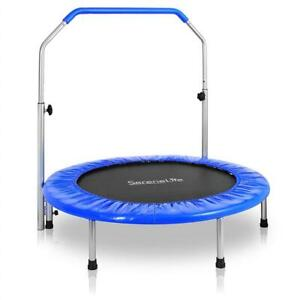 NEW Serene Life Serenelife Portable  Foldable Trampoline - 40 in-Home Mini Rebounder with Adjustable Handrail, Fitne...