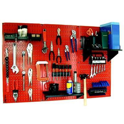 Metal Pegboard Standard Tool Storage Kit Red Black Garage Wall Organization
