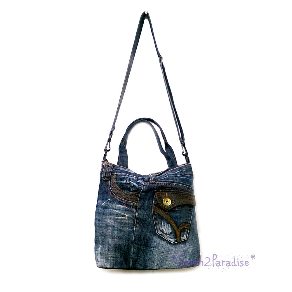 Details about Blue Jean Bag Recycled Denim Jeans Shoulder Woman Crossbody  Messenger Handbag e1f1b01161b7d