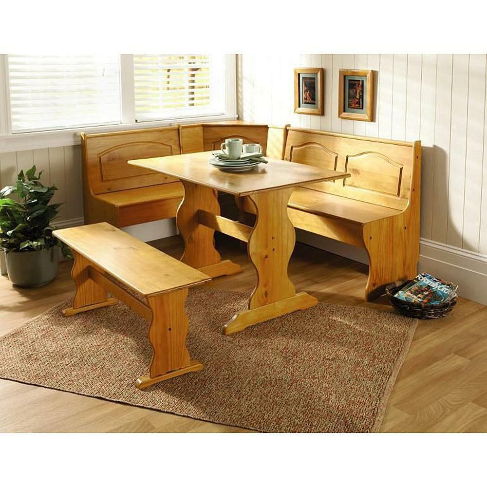 Stock photo  sc 1 st  eBay & Kitchen Table Set Nook Solid Pine Wood Corner Dining Breakfast Bench ...