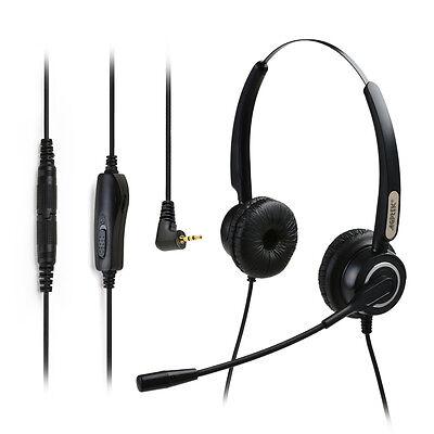 Binaural Headset Noise Canceling Microphone - AGPtek Hands-free 2.5mm Binaural Telephone Headset with Noise Canceling Mic Mute