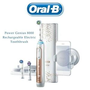 NEW Oral-B Power Genius 8000 Rechargeable Electric Toothbrush, Rose Gold Condtion: New, ALL tips sealed Rose Gold