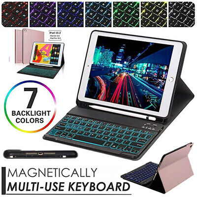 "Backlit Bluetooth Keyboard Case For iPad 9.7"" 5/6th 10.2 7th 2019+Pencil Holder"