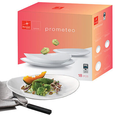 Bormioli Prometeo 18 Pcs Dinner Set Toledo White Glass Tableware Dining Plates
