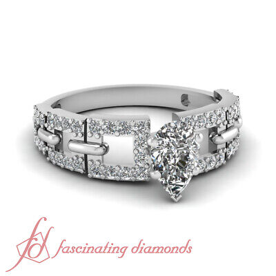 Pear Shaped And Round Diamond Engagement Rings Pave Set GIA Certified 1.65 Ct