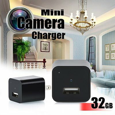 32GB USB Wall Charger 1080P Hidden Spy Camera Mini DVR Recorder Video Record Cam