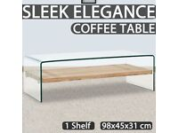Coffee Table Clear 98x45x31 cm Tempered Glass-284743