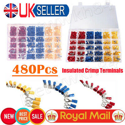 480x Electrical Cable Wire Connectors Assorted Insulated Crimp Terminals Spade E