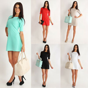 Womens-Classic-Elegance-Shift-Dress-Tunic-Style-Size-8-16-FA203