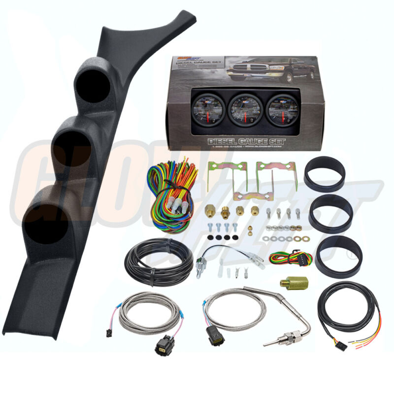 B7 Boost EGT Trans Temp Gauges + Triple Pod for 86-93 Dodge Ram 1st Gen Cummins