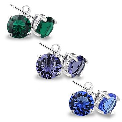 Sterling Silver  Multi Color Swarovski Elements Set of 3 Stud Earrings