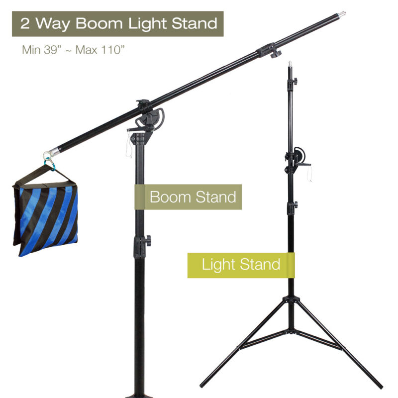 "60"" Arm Bar Photo Studio 2 Way Adjustable Boom Stand Sandbag Combo Photography"