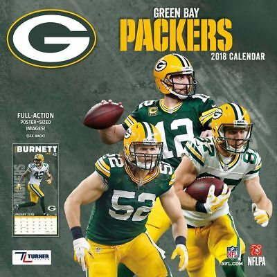 2018 Nfl Green Bay Packers Team Wall Calendar Full Action Poster Sized Images 12