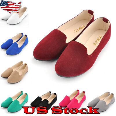 (US Womens Flat Pumps Ladies Ballet Ballerina Office Work Dolly Bridal Shoes Size)