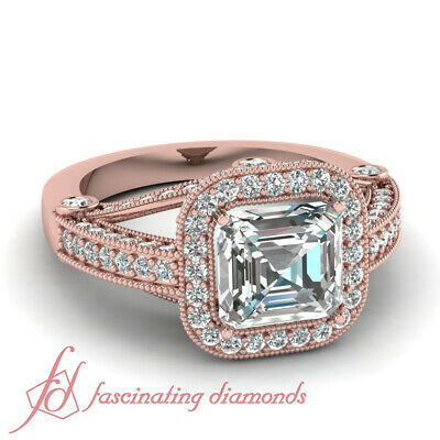 Rose Gold Halo Diamond Engagement Rings With Asscher Cut For Women 1.50 Ct GIA