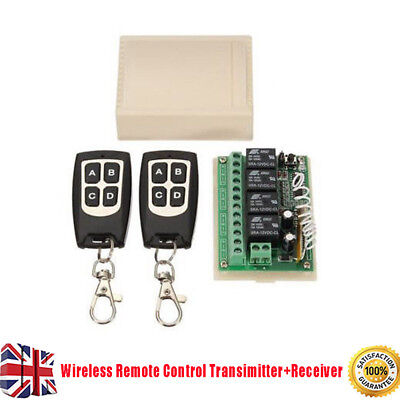12V 4CH Channel 100M Wireless Remote Control Relay Switch 2xTransceiver+Receiver