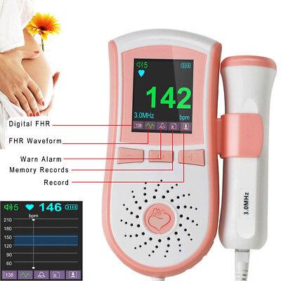 FDA US Pregnancy Baby fetus Heart Rate Monitor Fetal Doppler Recorder Sound