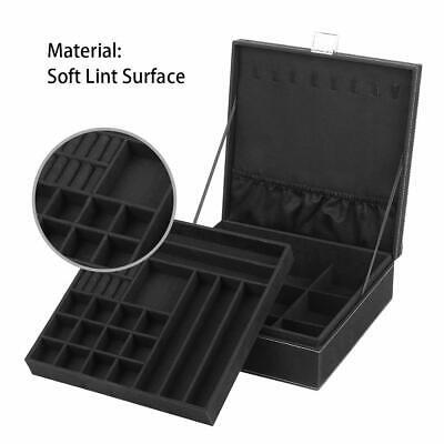 NEX 2-Layer Jewelry Box Organizer Jewelry Display Storage Case with Lock Black