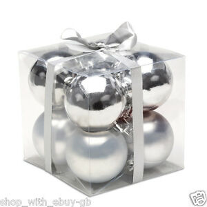 8-Pack-SILVER-Christmas-Tree-Baubles-4-5cm-SHINY-BAUBLE-DECORATIONS-Hangers