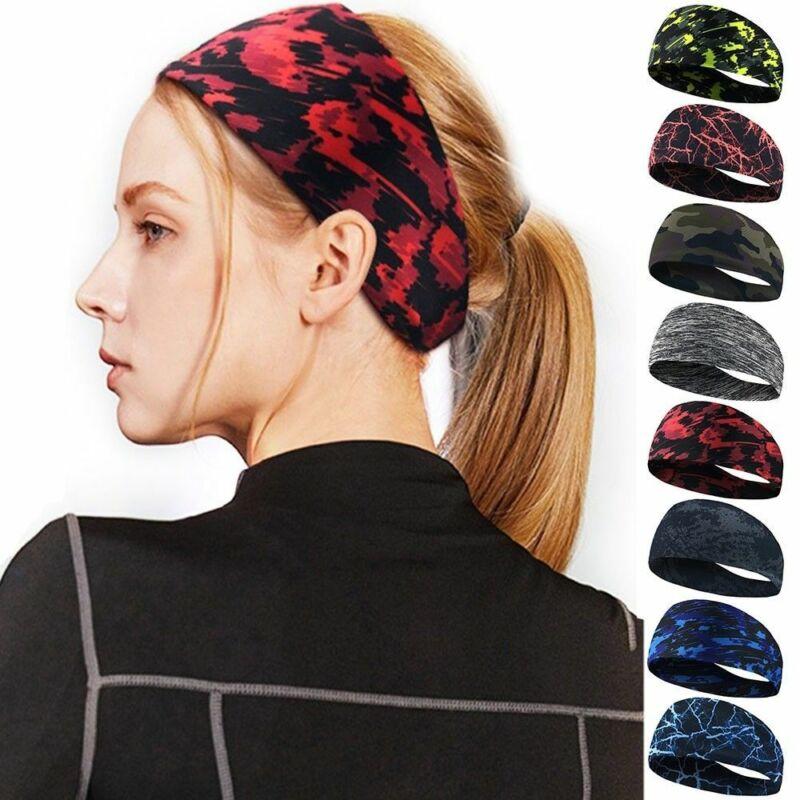 Extra Wide BLACK Stretchy Fabric Headband Sport Hair Band Unisex Free Size
