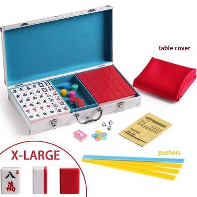 144 Red Tiles Chinese Mahjong Silver Aluminum Case with Pushers and Cover Set