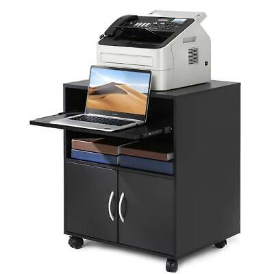 Printer Stand Storage Home Office Cabinet Wooden Under Desk Cabinet With Wheels