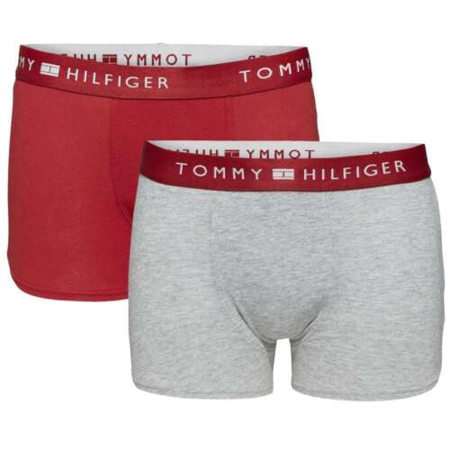 6c998188d5 Tommy Hilfiger Boys 2 Pack Modern Classic Cotton Stretch Boxer Trunk, Red /  Grey