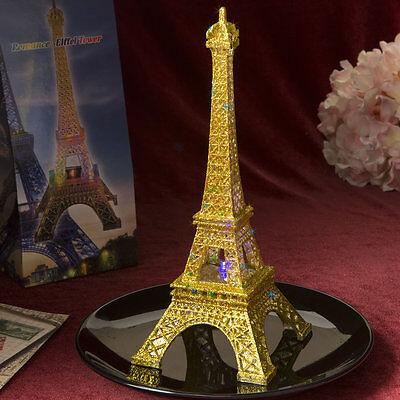 Set of 12 Light Up LED Gold Eiffel Tower Wedding Table Centerpieces  - Light Up Table Centerpieces