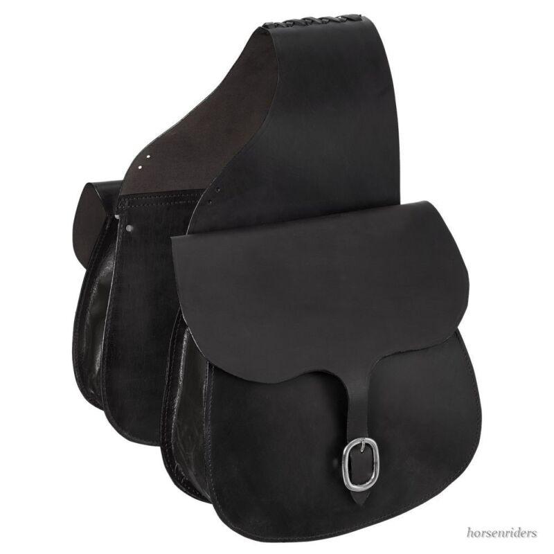 Western Saddle Bags - Black Leather
