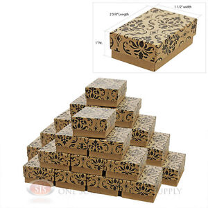 25 Damask Print Cotton Filled Jewelry Gift Boxes  2 5/8