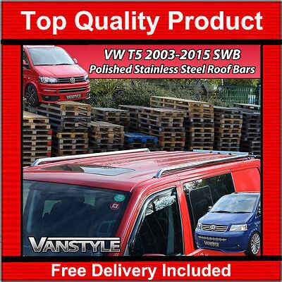 VW T5 TRANSPORTER SWB POLISHED STAINLESS STEEL ROOF RAILS ROOF BARS CHROME VAN