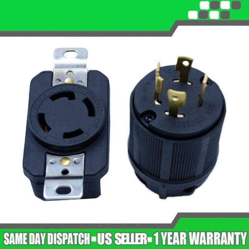 Male & Female Receptacle Generator RV AC Plug & Socket L14-3