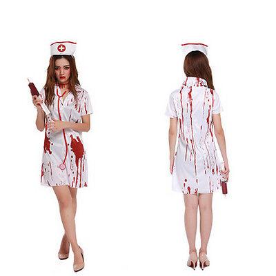 Bloody Splattered Nurse Womens Costume Fancy Dress Zombie Horror Halloween BJ](Zombie Dress Halloween)