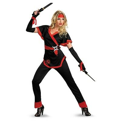 Womens Ninja Costume Samurai Asian Dragon Lady Fancy Dress Adult Red Warrior NEW