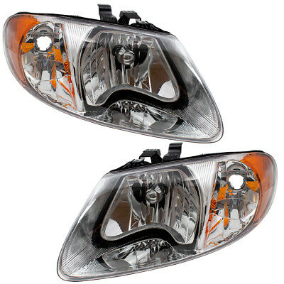 Pair Headlights for 01-07 Town & Country Caravan Voyager Set 4857701AC 4857700AC