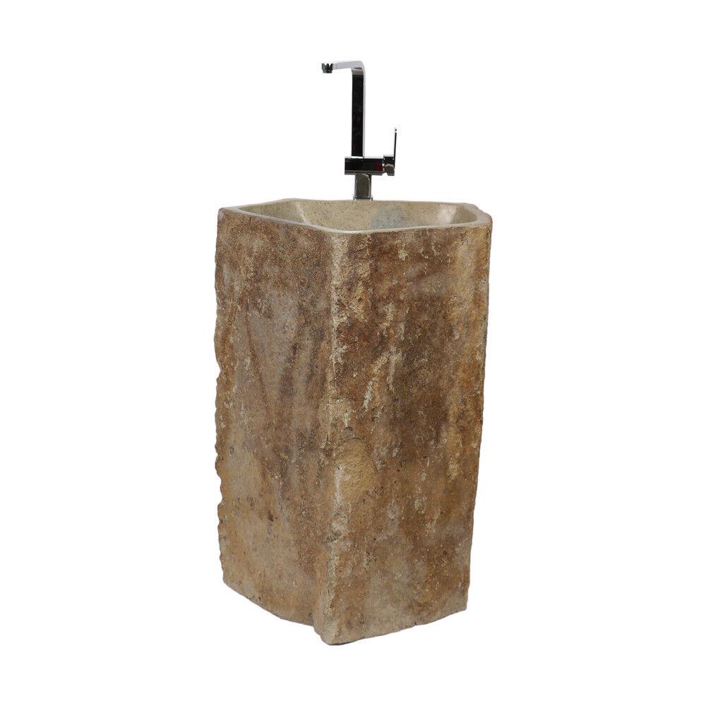 WOHNFREUDEN Marmor Stand-Waschbecken 70x70x85 cm natur rund Halbsäule Gäste WC