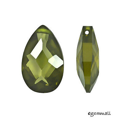 2 Cubic Zirconia Flat Pear Briolette Pendant Beads 10x16mm Olive Green #96197 ()