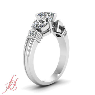 1.50 Carat Diamond Rings With Center Natural Heart Shaped In 14K White Gold GIA 2