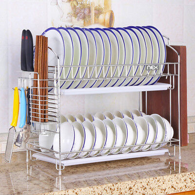 2Tier Dish Drying Rack Stainles Steel Kitchen Holder with Tray Dish Rack (Stainless Steel Dish Rack With Drainer Tray)